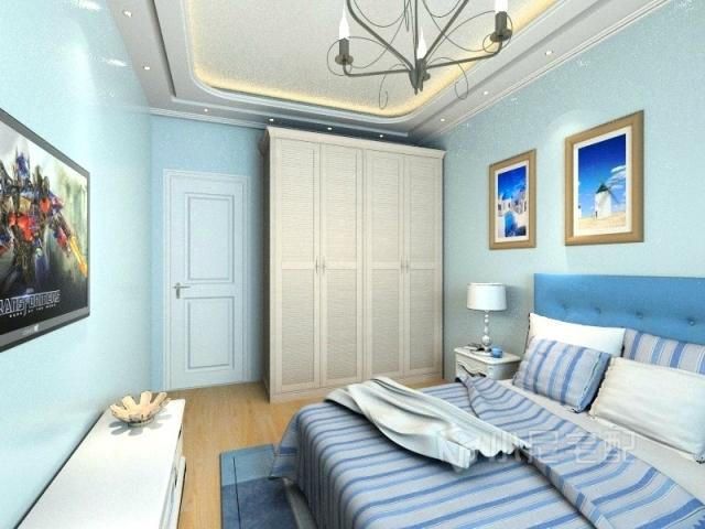 纯白的欧式卧室家具搭配浅蓝壁纸
