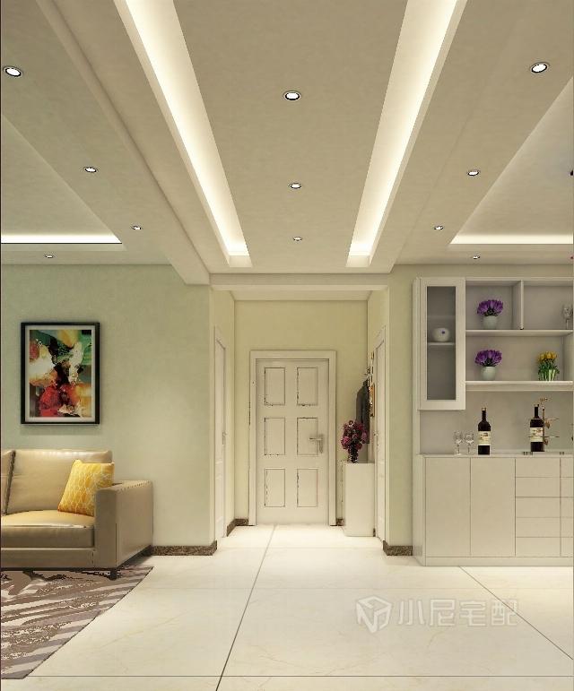 走廊的吊頂采用兩邊的燈槽設計,使餐廳和客廳更有連接性.