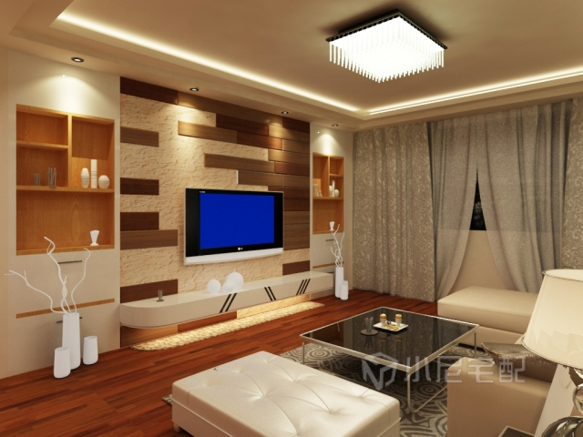 电视背景墙用的是剩余的木地板