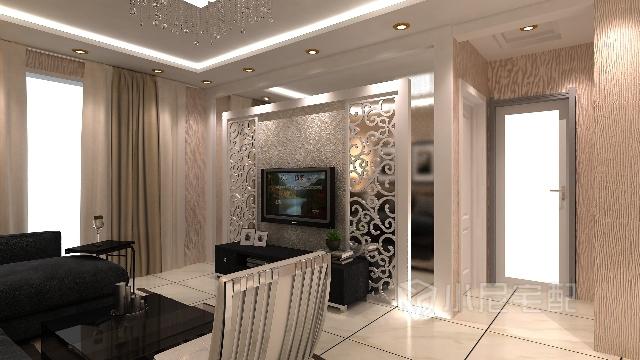 艺术花格制作的电视背景墙使之成为客厅的中心两点