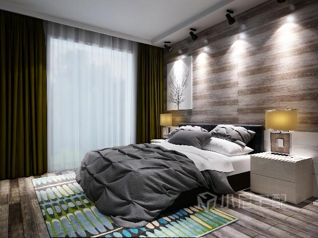 主卧室背景墙采用灰色木地板