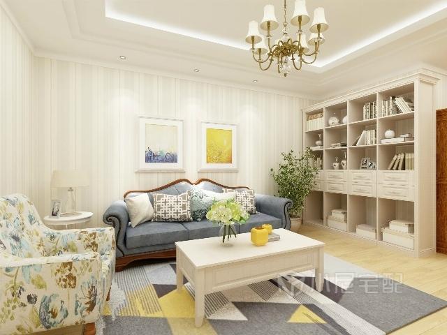欧式布艺沙发,色彩鲜艳的装饰画,基本配色为蓝色和黄色,显得十分和谐.