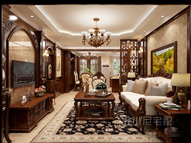 客厅沙发背景主要以木线条和壁布搭配进行装饰