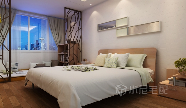 金丝胡桃色的床和床头柜