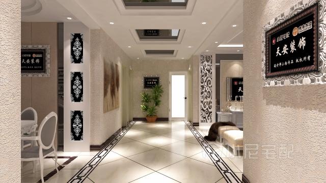 入户走廊由灰镜穿插其中,体现整体设计感