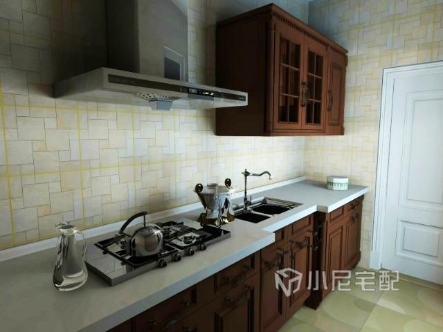 米色墙砖彰显厨房