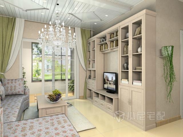 为了节省空间,同时增加设计感,电视背景墙和电视柜做成了一体的柜子.