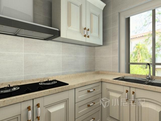 白色的橱柜搭配黄色的大理石台面,使厨房和整个空间更加的搭配.
