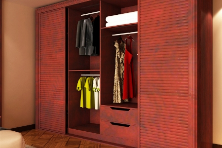 红色城堡定制衣柜 卧室整体衣柜包覆百叶门衣柜铝合金组合衣柜时尚