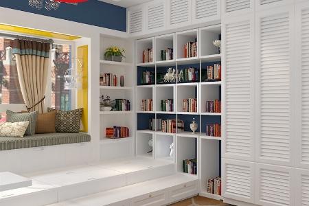 现代简约飘窗榻榻米多功能收纳柜储物地柜整体定制榻榻米衣柜书柜组合图片