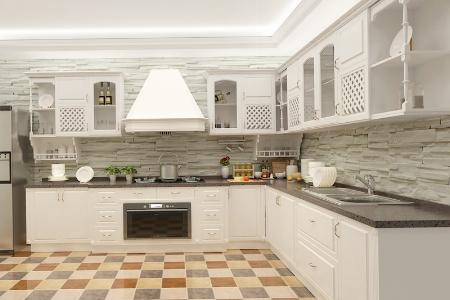 枫丹白露整体橱柜定制 现代简约定做厨房厨柜储物柜 定做吸塑门板橱柜