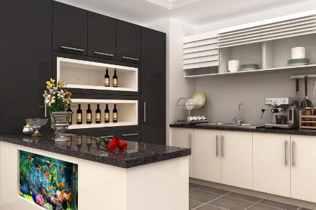 男性主张整体橱柜定制 现代简约石英石台面橱柜整体厨柜定做厨房装修