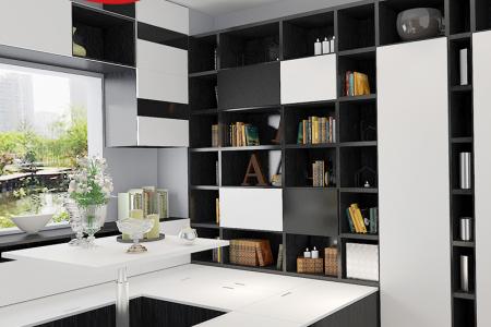整体家具衣柜书柜书桌组合柜榻榻米床 黑白色榻榻米定制收纳柜 飘窗储